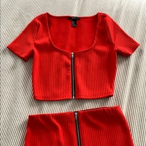 F21 Red Zip Up Two Piece Skirt and Top Set size S
